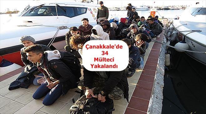 Çanakkale´de 34 Mülteci Yakalandı