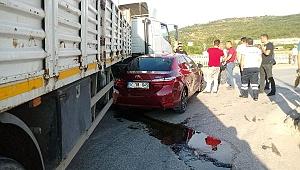 Çan'da Kaza! Otomobil Tırın Altına Girdi..