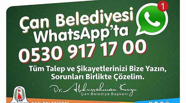 Çan Belediyesi Whatsapp Hizmetiyle Vatandaşa Daha da Yakın