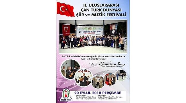 2.Uluslararası Çan Türk Dünyası Şiir ve Müzik Festivali Yarın Başlıyor