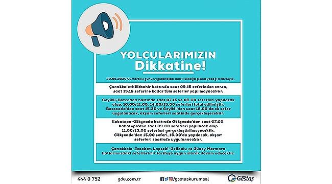 GESTAŞ SEFERLERİNDE DEĞİŞİKLİK!
