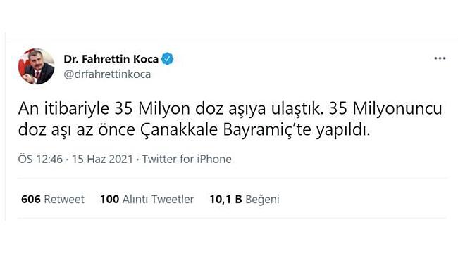 35 MİLYONUNCU COVİD-19 AŞISI ÇANAKKALE'DE YAPILDI!